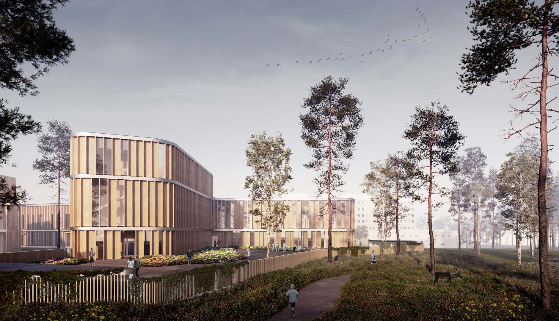 Exterior visualization of the Lapland Central Hospital designed by Verstas Architects