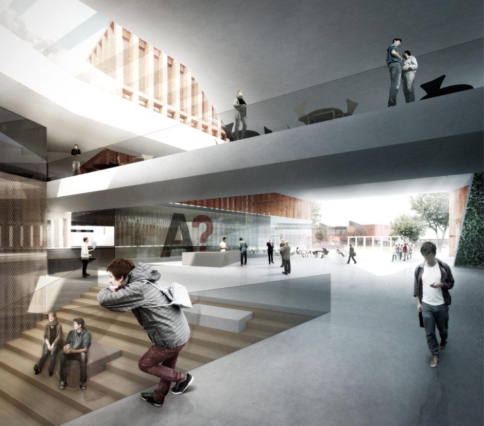 Aalto Campus 2015 winning entry Väre. View from main foyer.