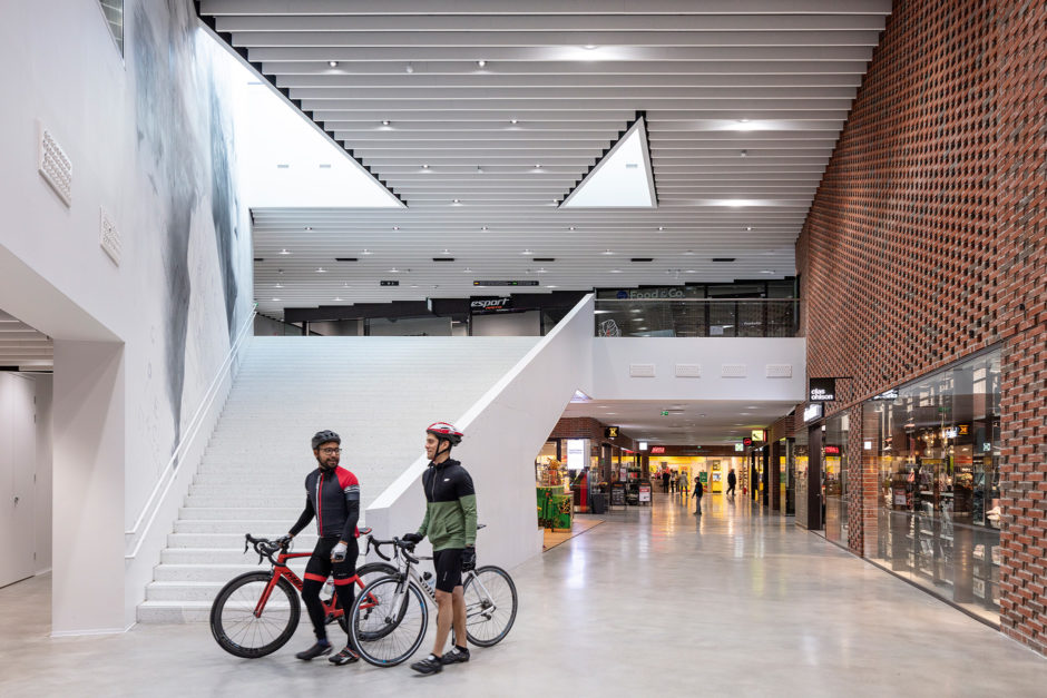 Lobby and interiors of the A Bloc shopping centre in the Aalto University campus in Otaniemi