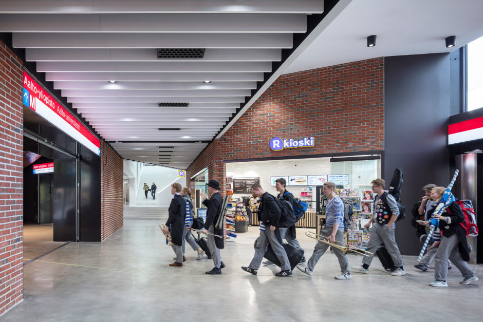 A Bloc shopping centre interior and the entrace to the underground station in the Aalto University campus in Otaniemi