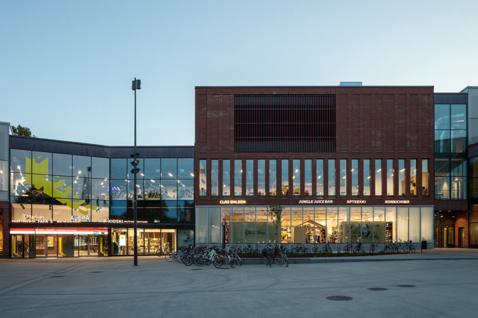 A Bloc shopping centre facade in the Aalto University campus in Otaniemi