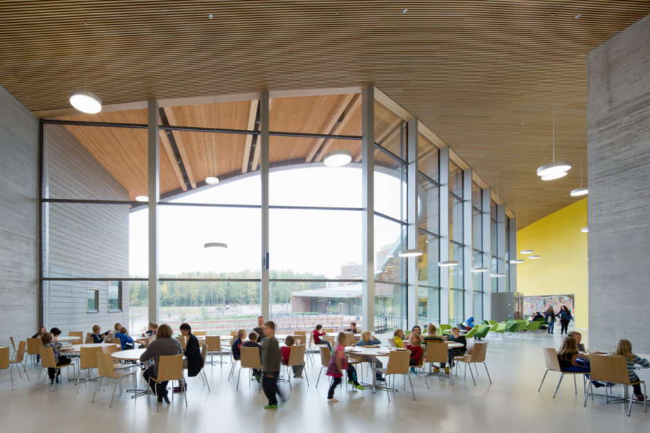 The lobby of the Saunalahti School designed by Verstas Architects in Espoo FInland