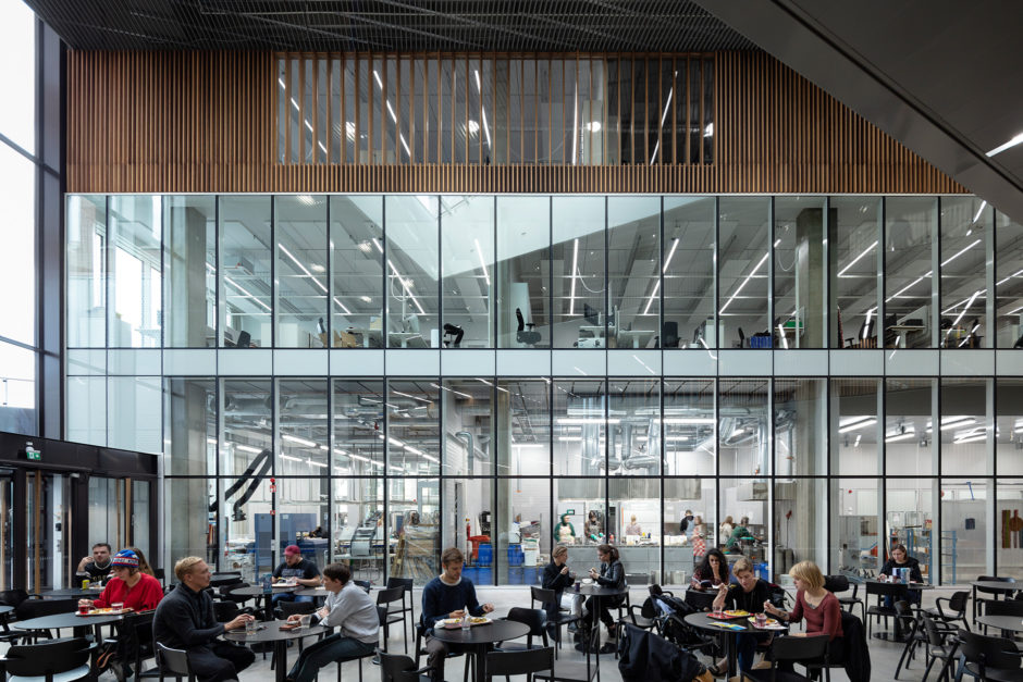 A restaurant and workshops in the Aalto University Väre Building for The School of Art, Design and Architecture, designed by Verstas Architects.