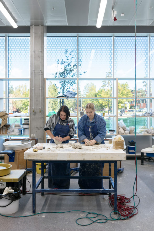 Ceramics workshop in the Aalto University Väre Building for The School of Art, Design and Architecture, designed by Verstas Architects.