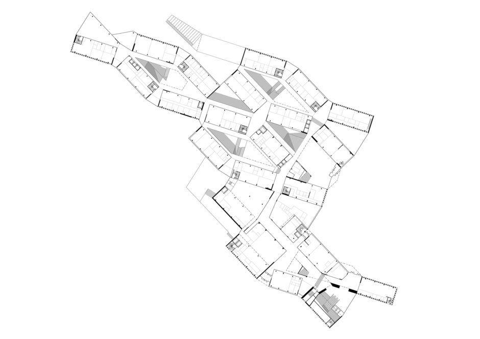 Upper ground floor plan of the Aalto University Väre Building for The School of Art, Design and Architecture, designed by Verstas Architects.