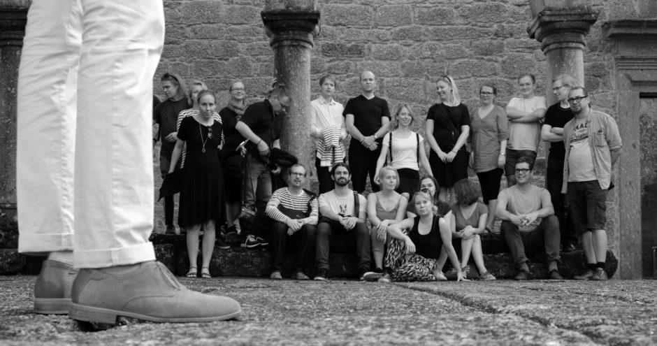 Verstas team getting organized for a group photo at Convento de Santa Maria do Bouro.