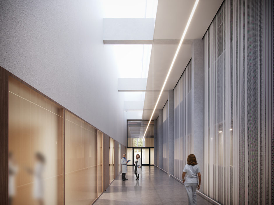 Corridor the Lapland Central Hospital by Verstas Architects