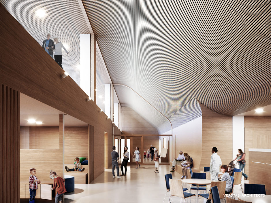 Lobby the Lapland Central Hospital by Verstas Architects
