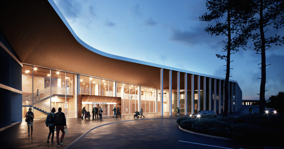 Entrance of the Lapland Central Hospital by Verstas Architects