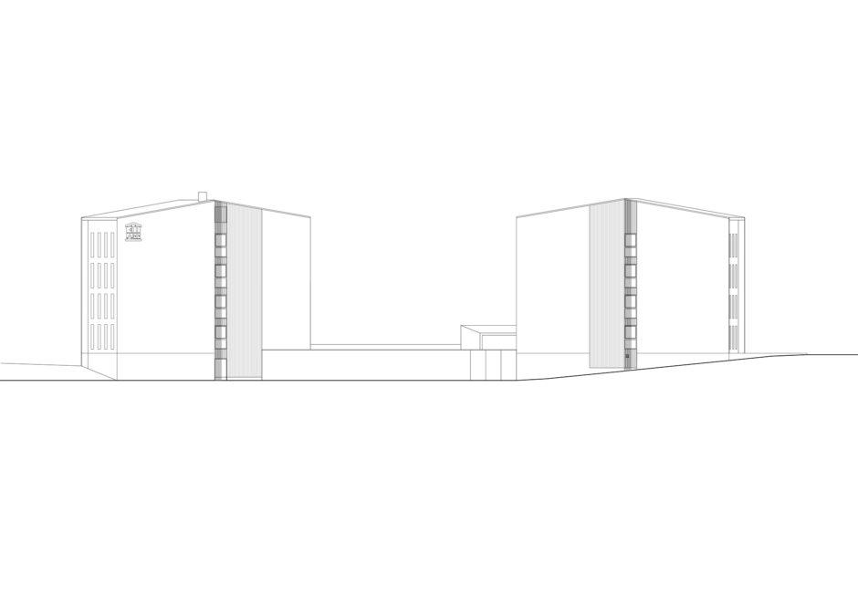 Elevation of the wooden prefabricated CLT element student housing in Jyväskylä by Verstas Architects
