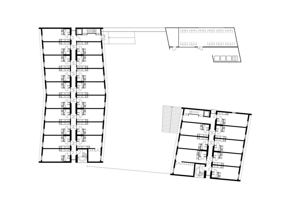 Floor plan of the wooden prefabricated CLT element student housing in Jyväskylä by Verstas Architects