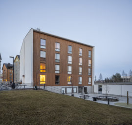 Wooden prefabricated CLT element student housing in Jyväskylä by Verstas Architects
