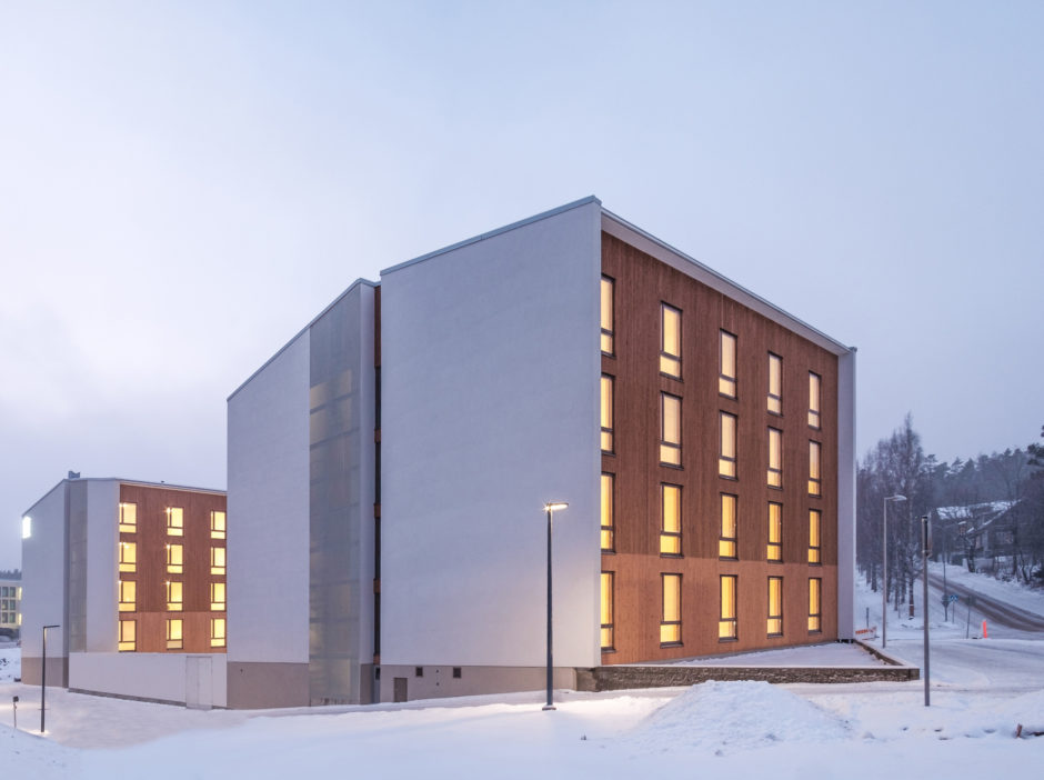 The exterior of the prefabricated wooden student housing in Jyväskylä Finland by Verstas Architects
