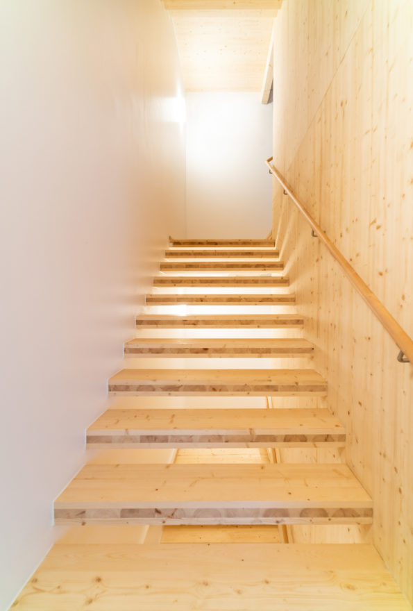 A stair in the prefabricated wooden student housing in Jyväskylä Finland by Verstas Architects