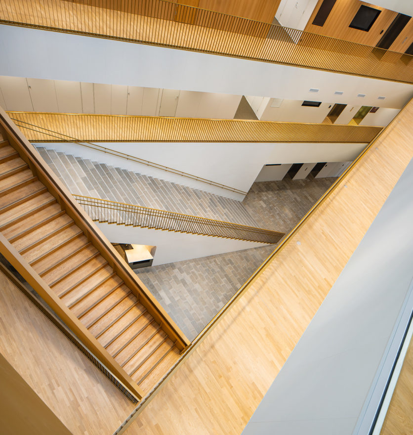 A lobby and stairs in the Aalto University School of Business designed by Verstas Architects