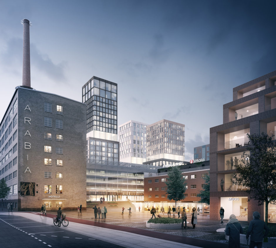 Square in the Arabia factory block masterplan by Verstas Architects