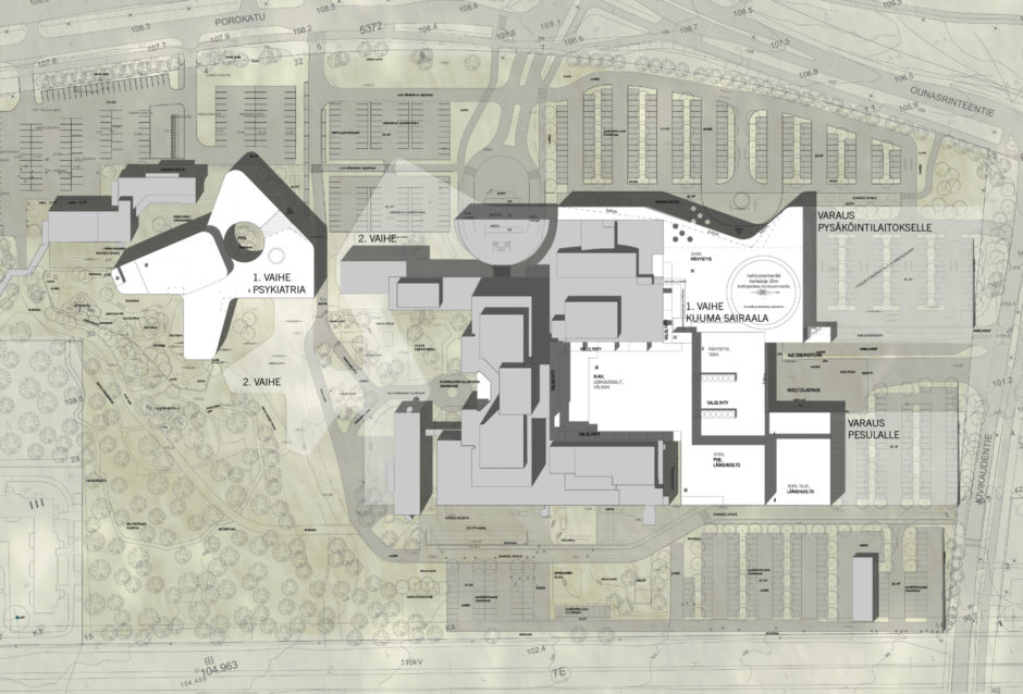 Masterplan of the Lapland Central Hospital designed by Verstas Architects