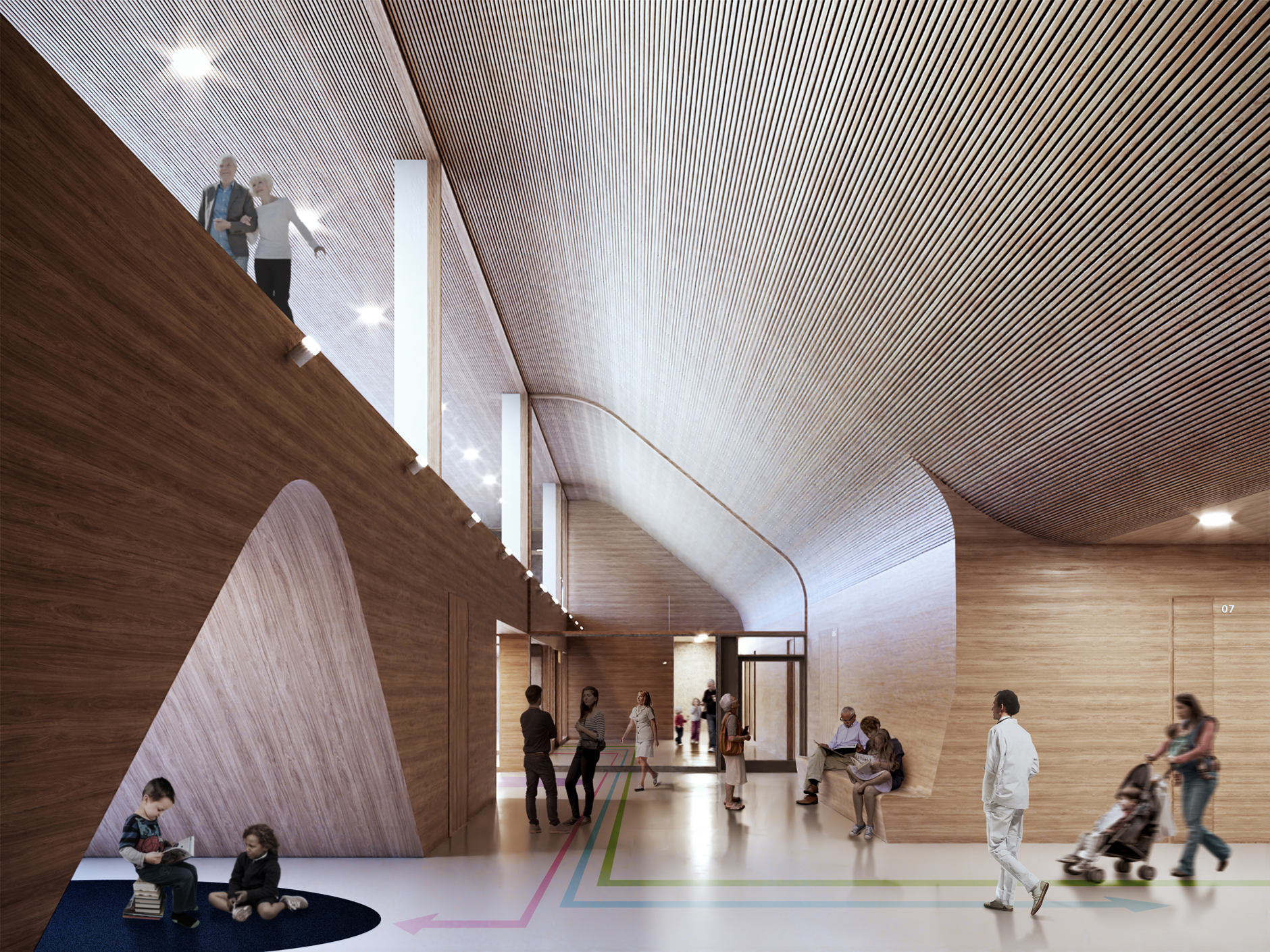 Interior visualization of the lobby in the emergency department with wooden surfaces in the Lapland Central Hospital designed by Verstas Architects