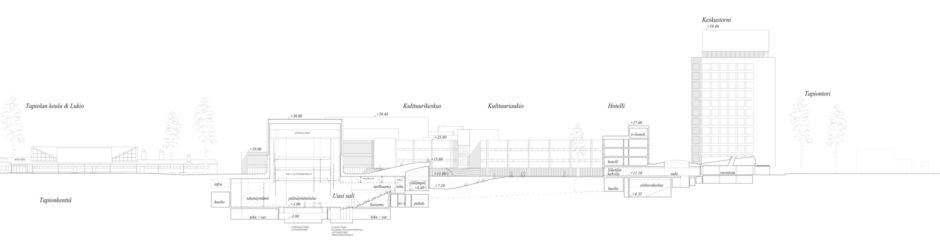 Section of the Tapiola Cultural Centre extension plan by Verstas Architects