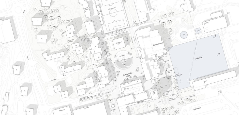 Site plan of the Tapiola Cultural Centre extension plan by Verstas Architects