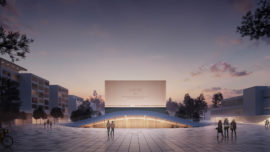 A visualization of the Espoo Culture Centre (Espoon kulttuurikeskus) extension and the Culture Square (Kulttuuriaukio)designed by Verstas Architects