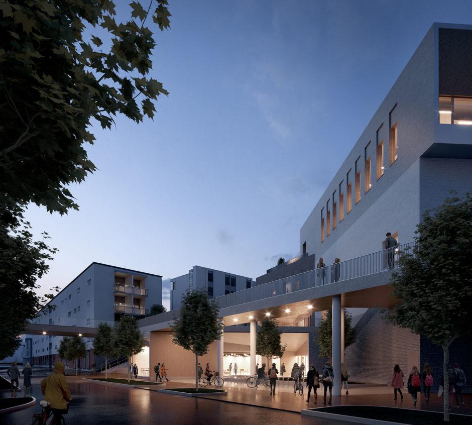 Exterior view of the Vuosaari high school by Verstas Architects