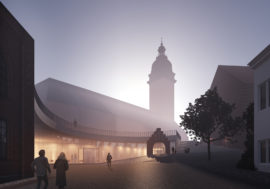 View of the Domkyrkoberget parish centre competition proposal by Verstas Architects