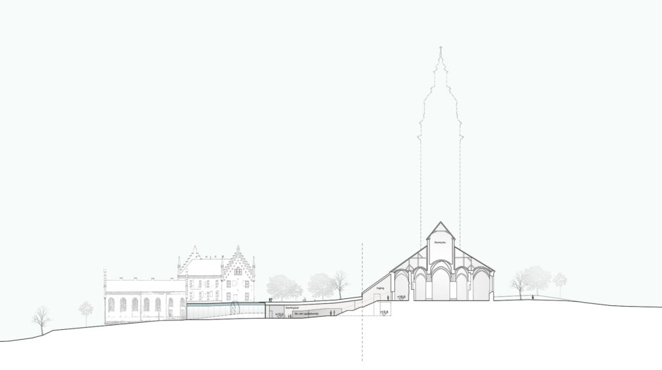 Section of the Domkyrkoberget parish centre competition proposal by Verstas Architects