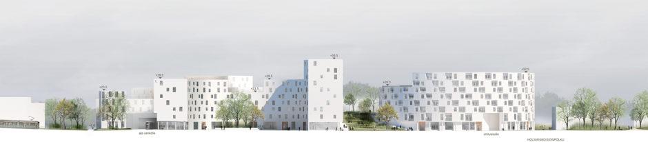 Street elevation of the Laajasalo hybrid block by Verstas Architects