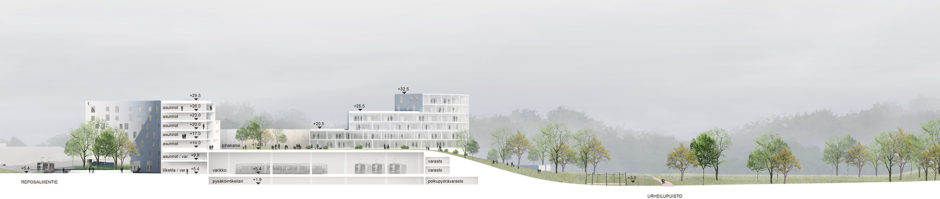 Section of the Laajasalo hybrid block by Verstas Architects