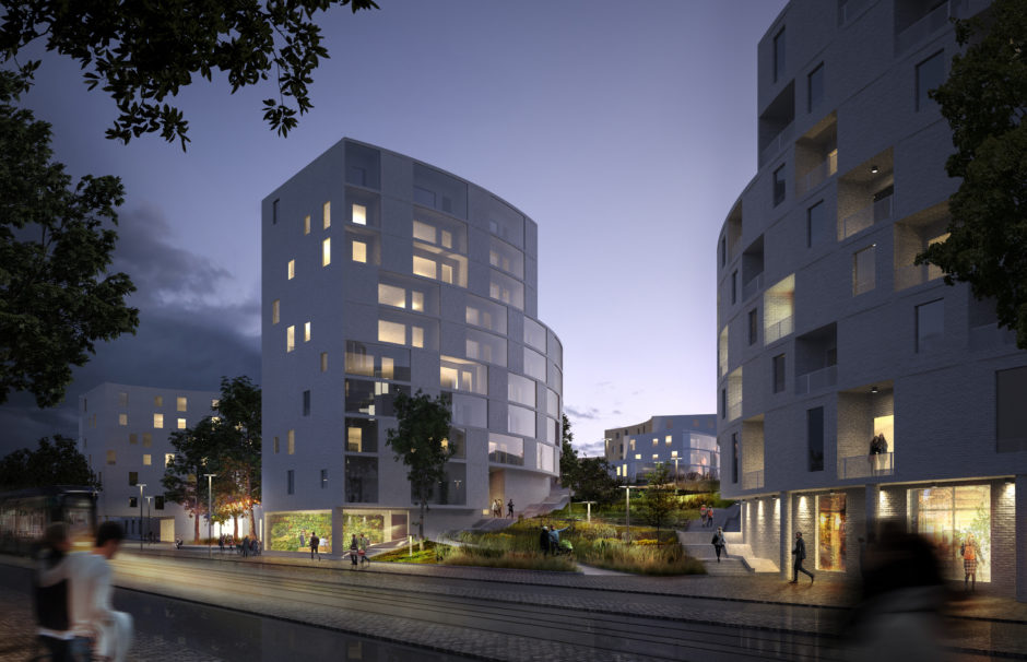 Street view of the Laajasalo hybrid block by Verstas Architects