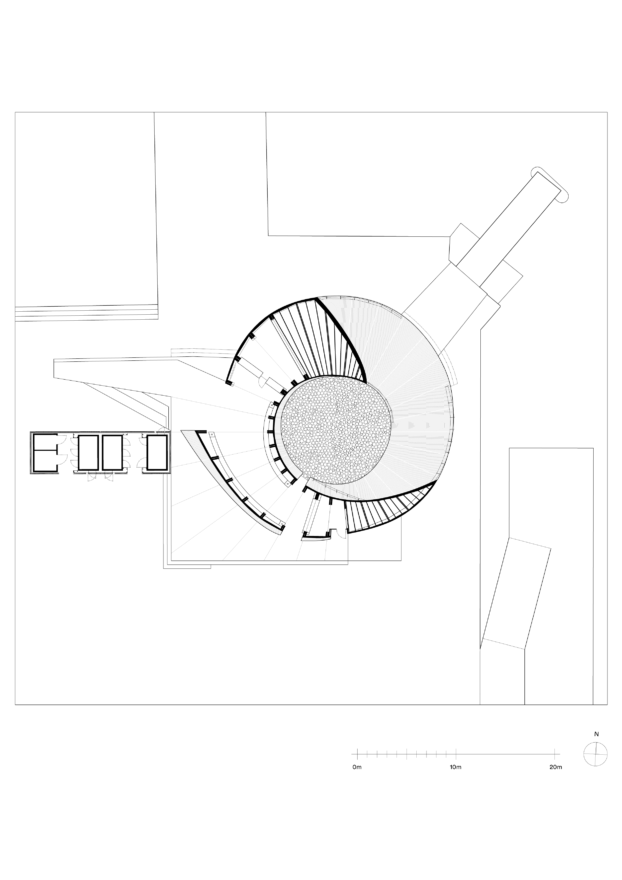 The floor plan of the wooden Helsinki Biennial Pavilion by Verstas Architects