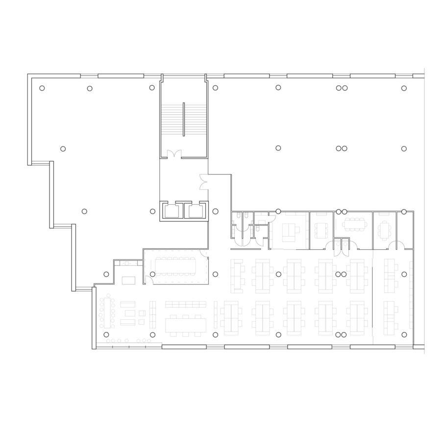 The floor plan of the Verstas Architects office